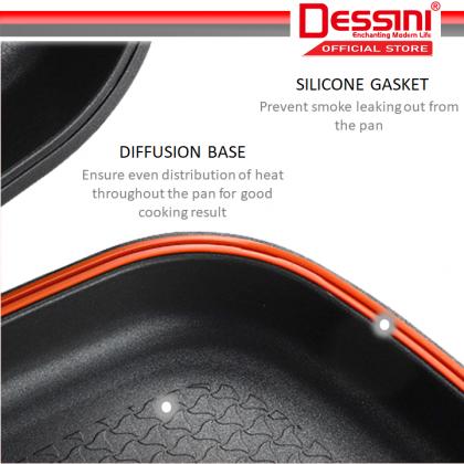 DESSINI ITALY Granite Aluminium Non Stick Double Sided Pressure Grill Fry Pan Cookware Tool (36cm)