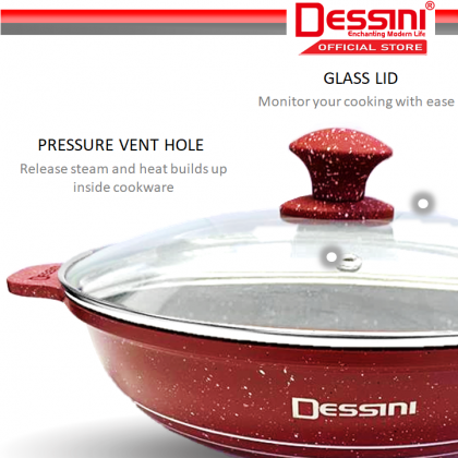 DESSINI ITALY Granite Aluminium Non Stick Casserole Pot Bowl Wok Grill Fry Pan Cookware Kuali Periuk (28cm)