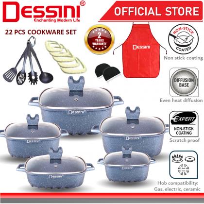 DESSINI ITALY Granite Aluminium Non Stick Casserole Pot Bowl Deep Fry Pan Cookware Tool (22 Pcs)