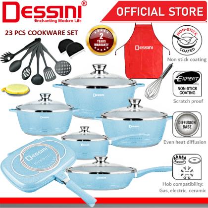 DESSINI ITALY Granite Aluminium Non Stick Casserole Pot Bowl Double Sided Grill Fry Pan Cookware Tool (23 Pcs)