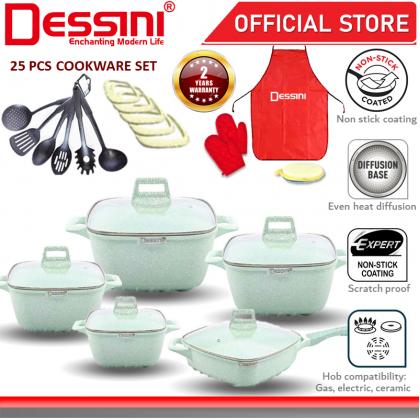 DESSINI ITALY Granite Aluminium Non Stick Casserole Pot Bowl Deep Fry Pan Cookware Tool (25 Pcs)