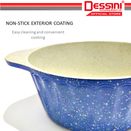 DESSINI ITALY Granite Aluminium Non Stick Casserole Pot Bowl Deep Fry Pan Cookware Tool (21 Pcs)