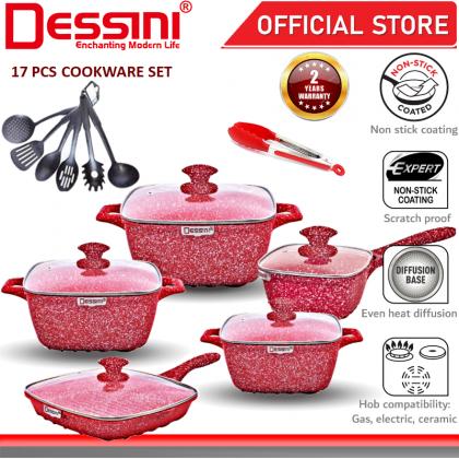 DESSINI ITALY Granite Aluminium Non Stick Casserole Pot Bowl Deep Fry Pan Cookware Tool (17 Pcs)