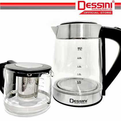DESSINI ITALY 2.5L + 1.0L Glass LED Light Electric Kettle Temperature Control Automatic Cut Off Boiler Jug Teapot Cerek