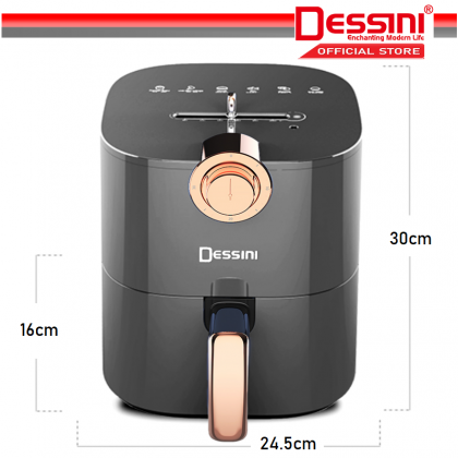 DESSINI ITALY Electric Air Fryer Timer Oven Cooker Non-Stick Fry Roast Grill Bake Machine (4.3L)