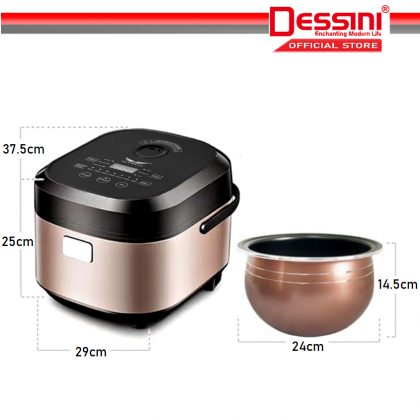 DESSINI ITALY 7IN1 5L Electric Digital Rice Cooker Non-stick Stainless Steel Inner Pot Steamer Pengukus Periuk Nasi