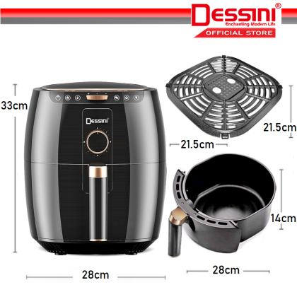 DESSINI ITALY Electric Air Fryer Timer Oven Cooker Non-Stick Fry Roast Grill Bake Machine (6.5L)