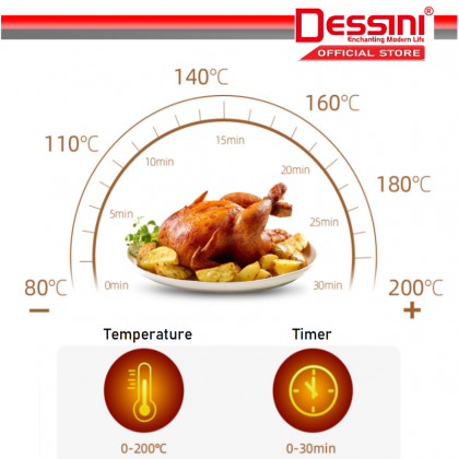 DESSINI ITALY Electric Air Fryer Timer Oven Cooker Non-Stick Fry Roast Grill Bake Machine (4.0L)