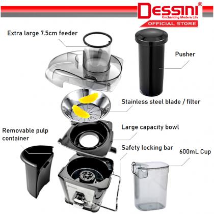DESSINI ITALY Stainless Steel Blender Grinder Chopper Mixer Miller Juicer Extractor Smoothie Ice Crusher Pengisar