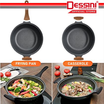 DESSINI ITALY 32CM Marble Stone Induction Casserole Non Stick Frying Pan Wok Pot Bowl Cookware + Cover / Kuali Periuk